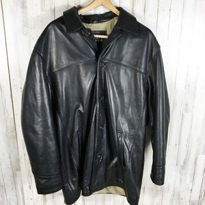 Andrew Marc Leather Jacket Button Down Coat L